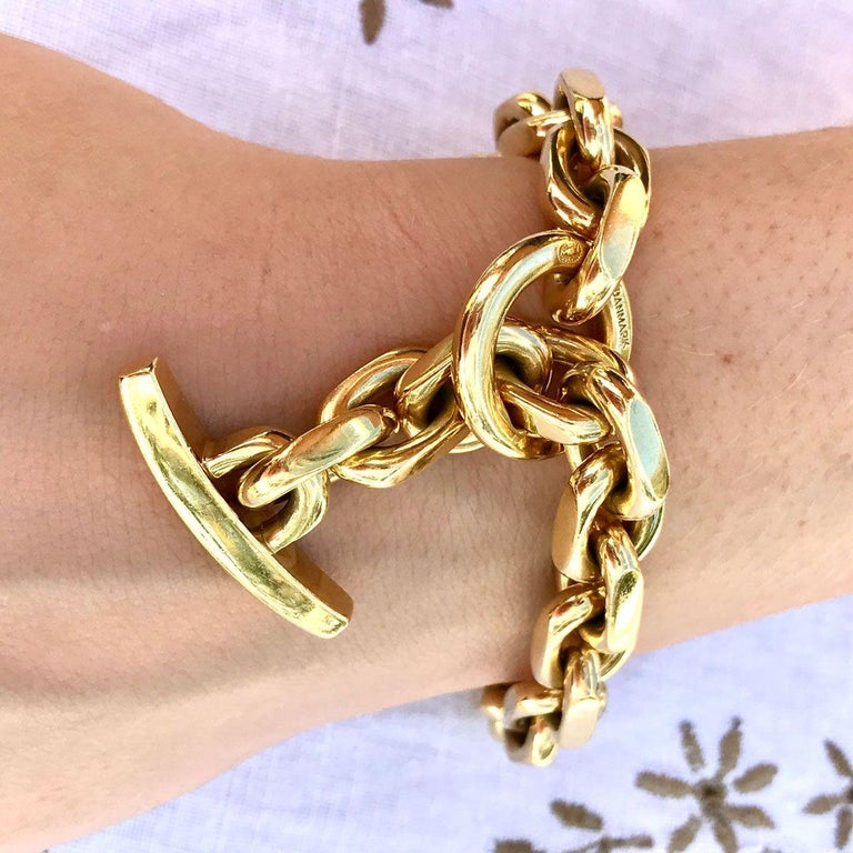 18 Karat Yellow Gold Georg Jensen Flat Link Toggle Bracelet For Sale 4