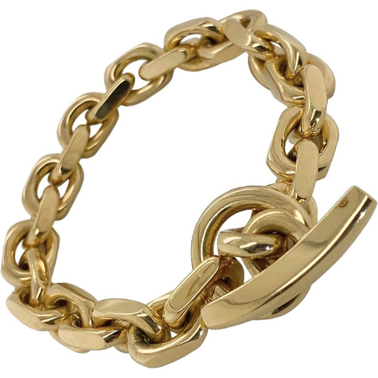 18 Karat Yellow Gold Georg Jensen Flat Link Toggle Bracelet For Sale