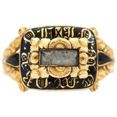 Georgian Black Enamel and 18 Karat Gold Mourning Ring , Scottish Circa 1820s