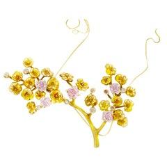 18 Karat Yellow Gold GIA Certified Fancy Pink Diamonds Heliotrope Necklace