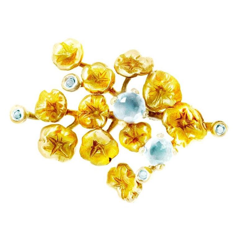 18 Karat Yellow Gold GIA Certified Neon Blue Brazil Paraiba Tourmalines Brooch For Sale