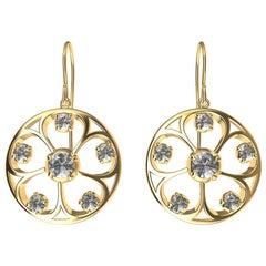 18 Karat Yellow Gold GIA Diamond 5 Petal Flower Earrings