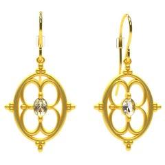 18 Karat Yellow Gold GIA Diamond Arabesque Earrings