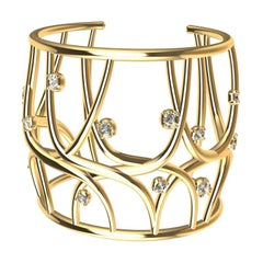 18 Karat Yellow Gold GIA Diamond Cuff Bracelet
