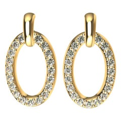18 Karat Yellow Gold GIA Diamond Dangle Earrings