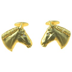 18 Karat Yellow Gold GIA Diamond Horse Cufflinks
