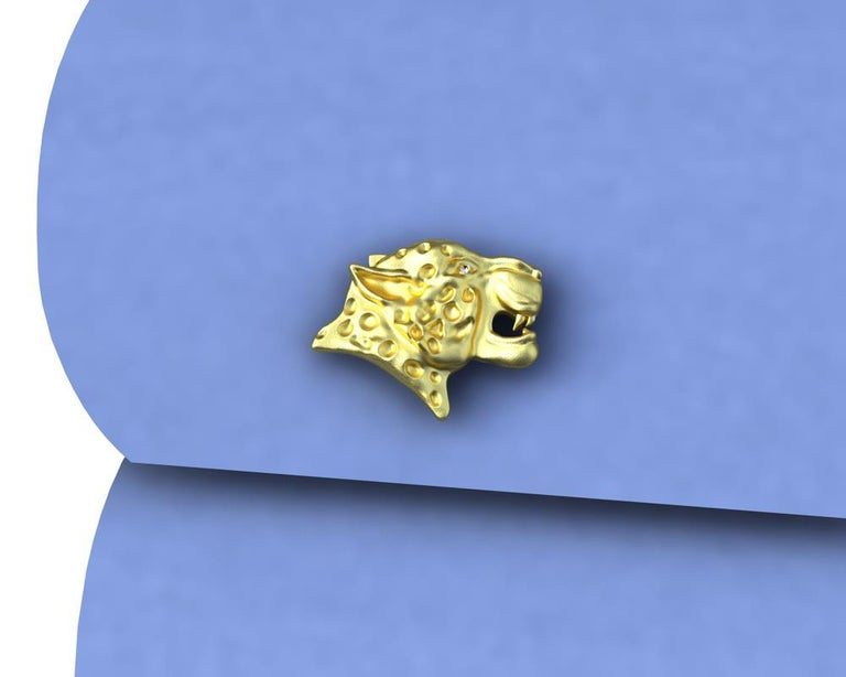 18 Karat Yellow Gold Diamond Leopard Cufflinks, These come from my Feline Collection. I am fascinated with all kinds of wild cats. The leopard can reach a speed of 60 km.h  or 40 mph, but only for a limited time before overheating.  These are GIA