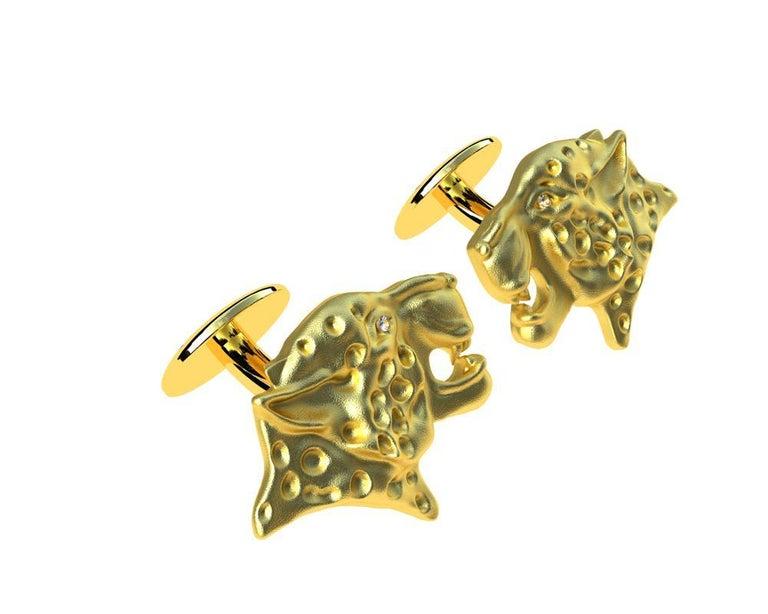 Round Cut 18 Karat Yellow Gold GIA Diamond Leopard Cufflinks For Sale