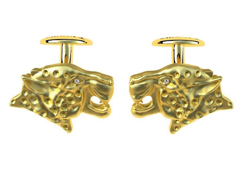 18 Karat Yellow Gold GIA Diamond Leopard Cufflinks For Sale 1