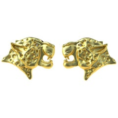 18 Karat Yellow Gold GIA Diamond Leopard Cufflinks