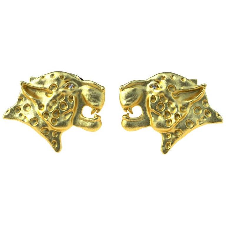 18 Karat Yellow Gold GIA Diamond Leopard Cufflinks For Sale