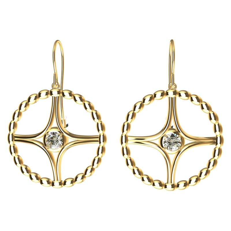 18 Karat Yellow Gold GIA Diamond Nautical Bead Hoop Earrings