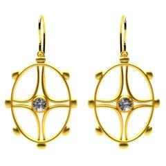 18 Karat Yellow Gold GIA Diamond Nautical Earrings