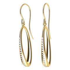 18 Karat Yellow Gold GIA Diamond Oval Hoop Earrings