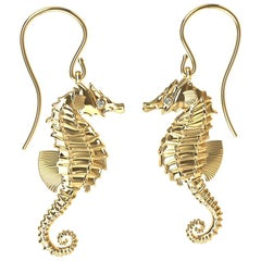 18 Karat Yellow Gold GIA Diamond Sea Horse Earrings