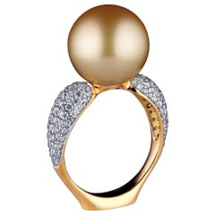 18 Karat Yellow Gold Golden South Sea Pearl and 1.05 Carat Diamond Cocktail Ring