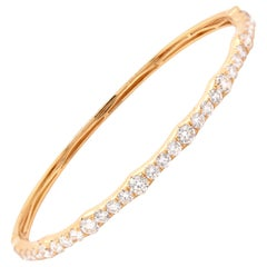 18 Karat Yellow Gold Graduated Diamond Bangle Bracelet
