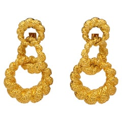 18 Karat Yellow Gold Graduated Triple Hoop Clip-On Earrings