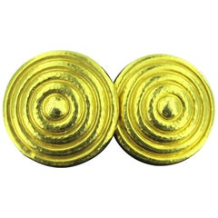18 Karat Yellow Gold Greek Concentric Circle Designed Clip-On Earrings
