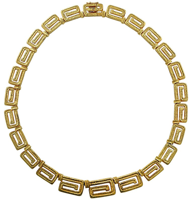 Modern 18 Karat Yellow Gold Greek Key Suite For Sale