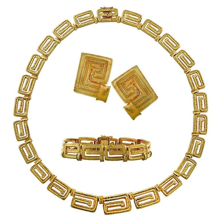 18 Karat Yellow Gold Greek Key Suite For Sale