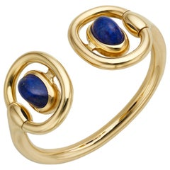 18 Karat Yellow Gold Greek Lapis Cuff