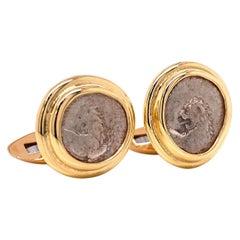 18 Karat Yellow Gold Greek Lion Coin Cufflinks