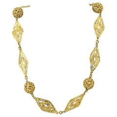 18 Karat Gelb Gold Lange Halskette mit Griechischem Motiv