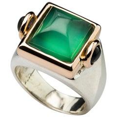 Art Deco Style 18 Karat Yellow Gold Green Agate Tourmaline Silver Cocktail Ring
