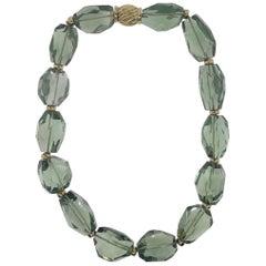 18 Karat Yellow Gold, Green Amethyst Bead Necklace