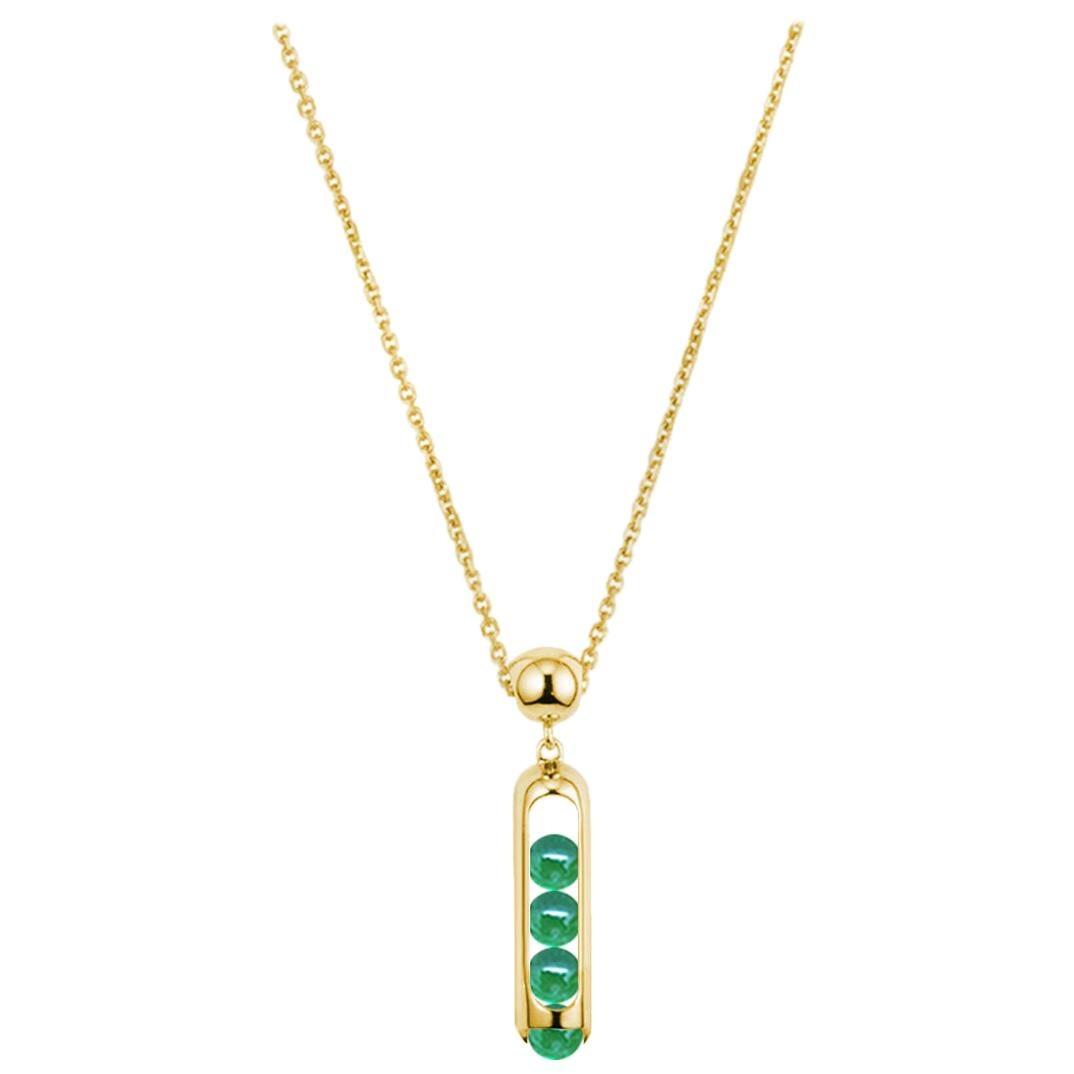 Melody Unisex Small Chain Pendant 18 Karat Yellow Gold Green Chalcedony beads