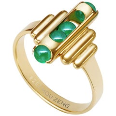 18 Karat Yellow Gold, Green Chalcedony-Melody Small Unisex Ring