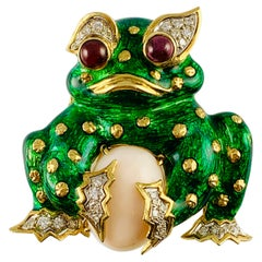 18 Karat yellow Gold Green Enamel Diamond Coral and Ruby Frog Brooch Pin