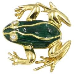 18 Karat Yellow Gold Green Enamel Diamond Eyes Frog Brooch
