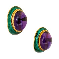 18 Karat Yellow Gold, Green Enamel Earrings with 34.46 Carat Cabochon Amethyst