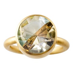 18 Karat Yellow Gold Green Fluorite and Cognac Quartz Modern Cocktail Ring
