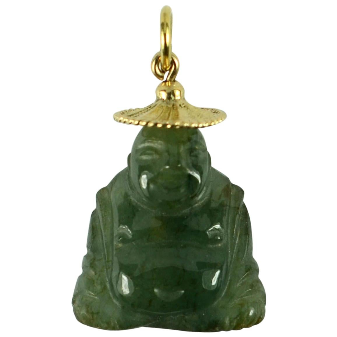 18 Karat Yellow Gold Green Jadeite Jade Buddha Large Charm Pendant