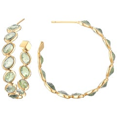 Paolo Costagli 18 Karat Yellow Gold Green Sapphire Ombre Hoop Earrings, Medium