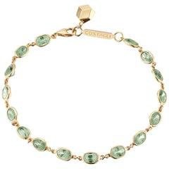 18 Karat Yellow Gold Green Sapphire 8.50 Carat Ombre Bracelet
