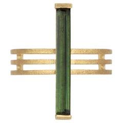 18 Karat Yellow Gold Green Tourmaline Arc Ring