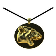 18 Karat Yellow Gold Growler Panther Pendant Necklace