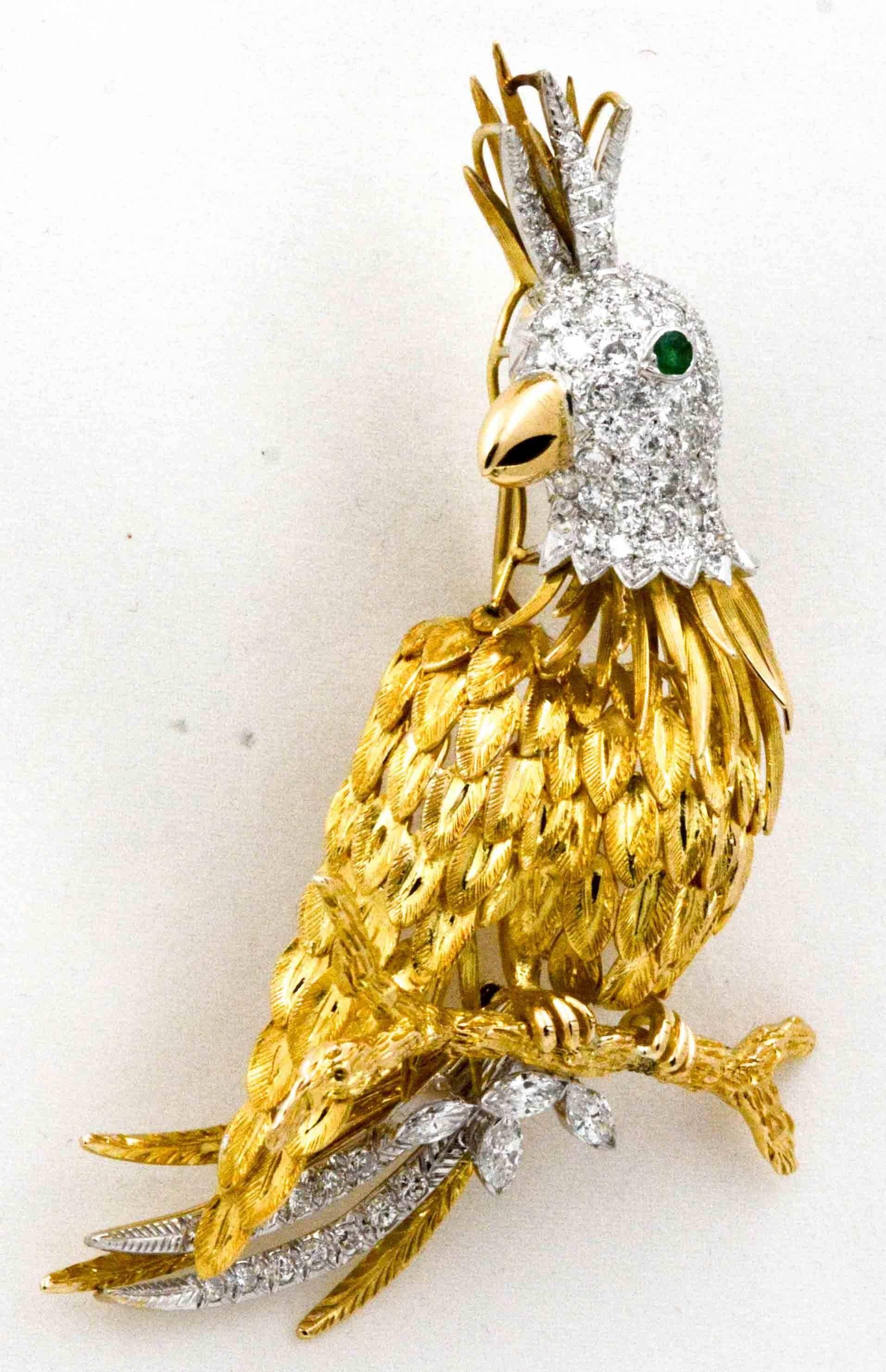 18 Karat Yellow Gold Gutschneider Parrot 5.50 Carat Brooch For Sale ...