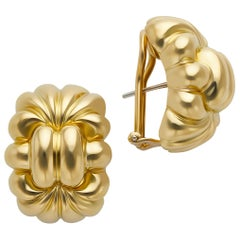 18 Karat Yellow Gold Half Bubble Hoop Earrings