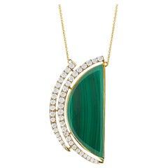18 Karat Yellow Gold Half Moon Semi-Circle Necklace with Malachite and Diamonds