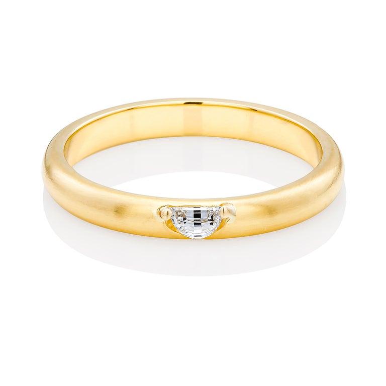 Contemporary 18 Karat Yellow Gold Half Moon Shape Diamond Band For Sale