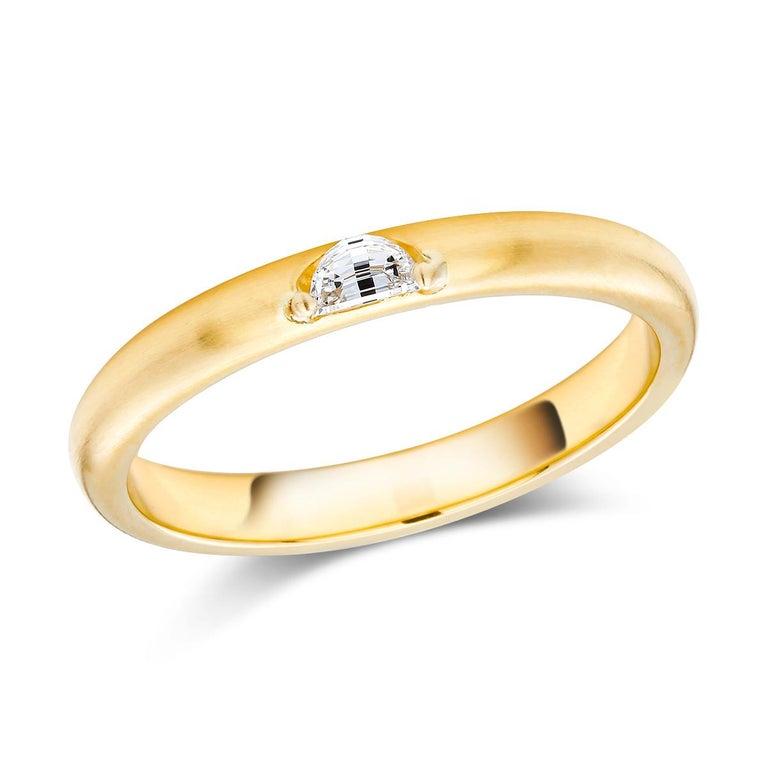 18 Karat Yellow Gold Half Moon Shape Diamond Band For Sale 1