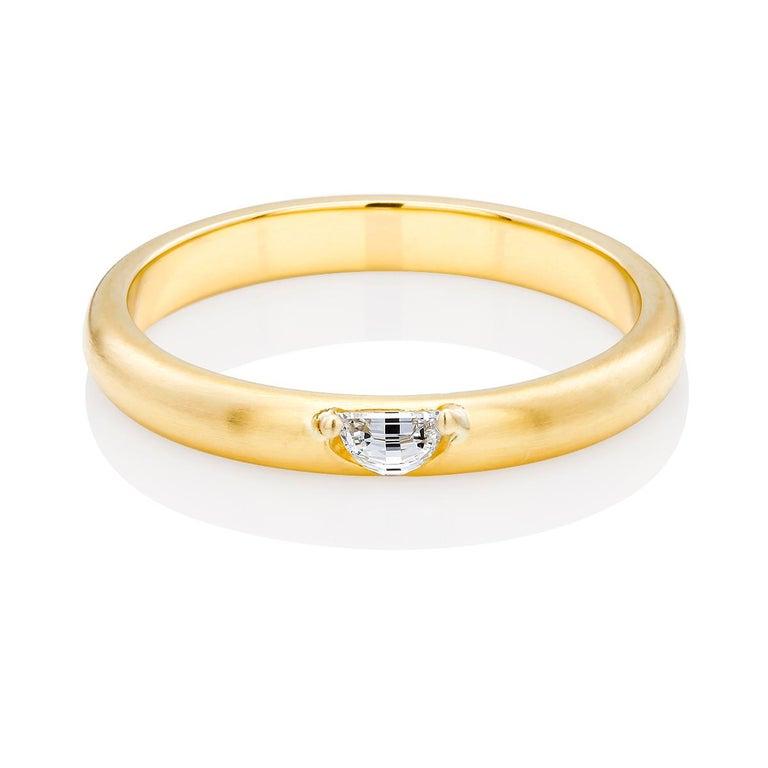 18 Karat Yellow Gold Half Moon Shape Diamond Band For Sale 2
