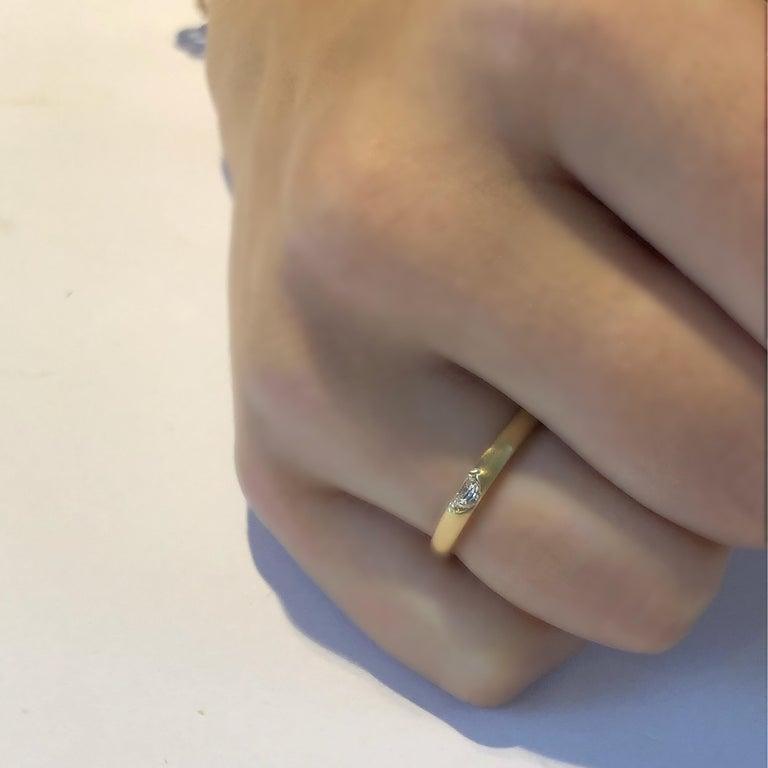 Women's or Men's 18 Karat Yellow Gold Half Moon Shape Diamond Band For Sale