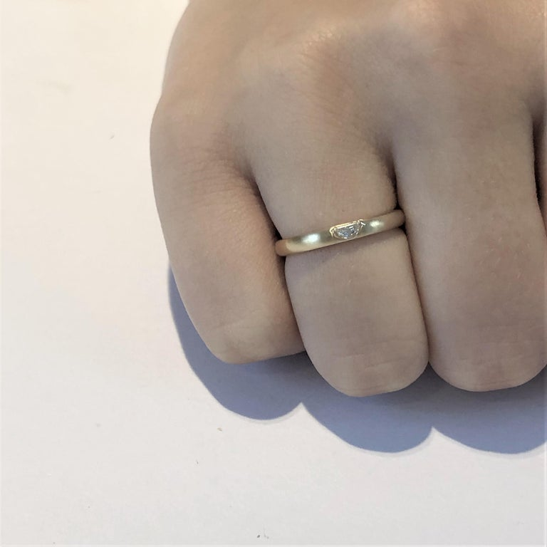 18 Karat Yellow Gold Half Moon Shape Diamond Band In New Condition For Sale In New York, NY