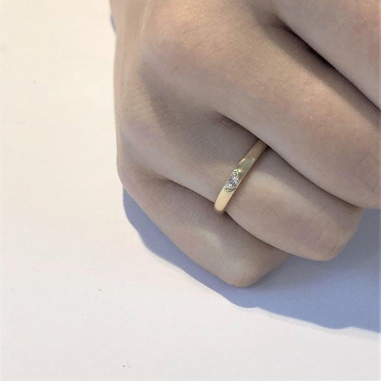 18 Karat Yellow Gold Half Moon Shape Diamond Band For Sale 3